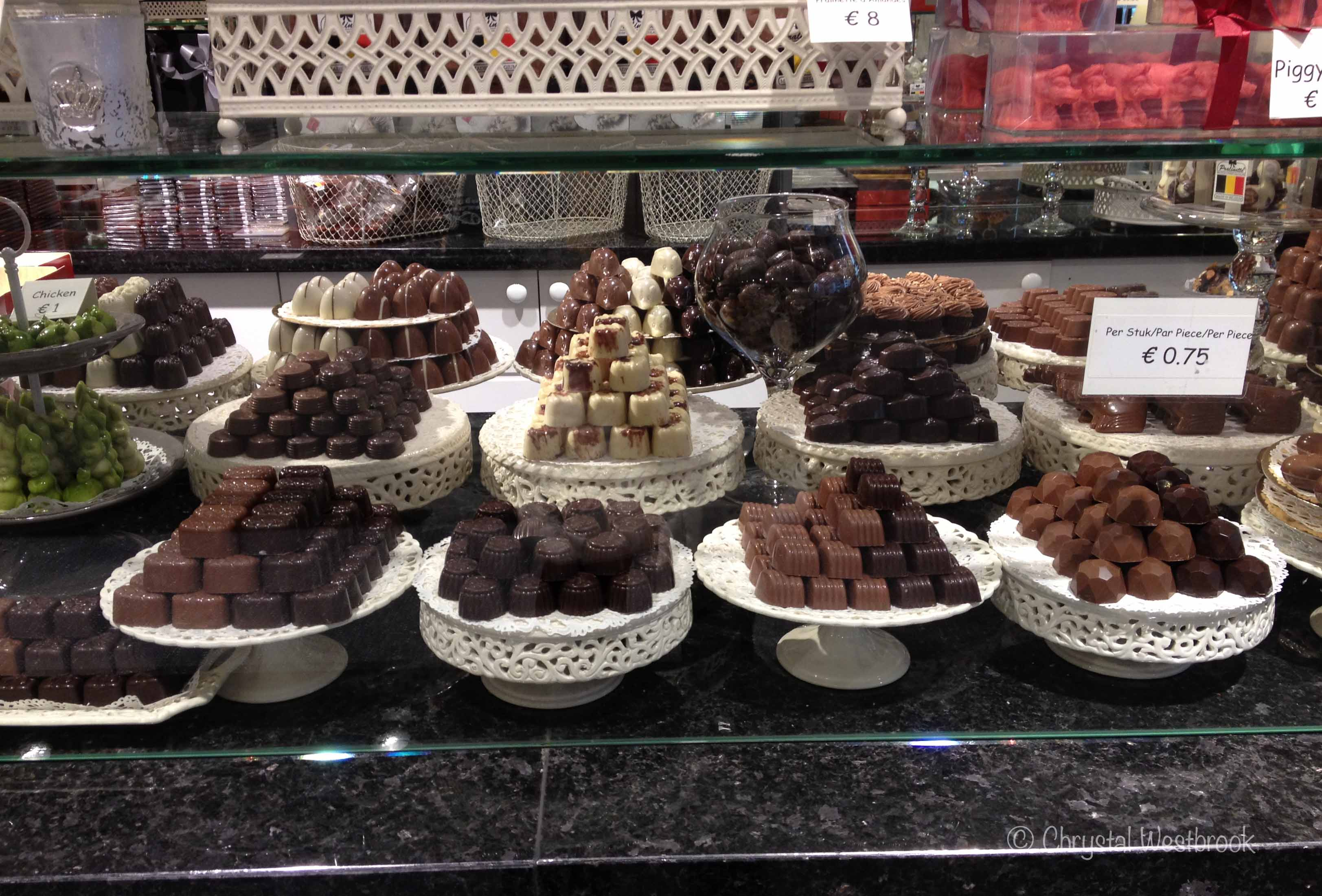 [IMAGE] Display case of Belgian chocolates